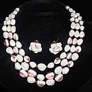 VINTAGE Plastic Granny Beads White with pink inserts--Perfect for Summer!! Western Germany
