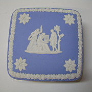 VINTAGE Wedgwood Blue Jasperware 4inch square Trinket Box