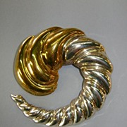 VINTAGE Sterling Mexican Silver Modernistic Style WHIRLWIND Brooch and Pendant