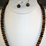 Tiger Eye and Sterling Bead Necklace and Earrings New but Old Stock