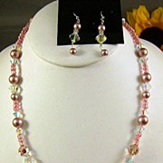 PRETTY IN PINK- Pink Pearl Beads and Swarovski Crystal Necklace and Earrings