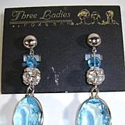 Old But Never Worn Three Ladies Dangle Earrings  Aquamarine Color