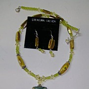 Peridot Peridot Pretty Green Necklace and Earrings  New Old Stock