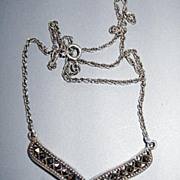 VINTAGE  Sterling and Marcasite Heart Necklace