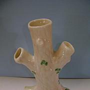 BELLEEK Shamrock Tree Trunk Vase Triple Bud Vase Green Mark