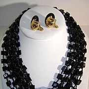 VINTAGE  Black glass 8 strand Necklace and Earrings