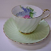 VINTAGE Aynsley English Bone China  Cup and Saucer Delphinium Flowers