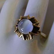 VINTAGE Cat-Eye Moonstone Ring 10K YG  Size 6