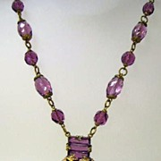 VINTAGE Czechoslovakia Amethyst Faceted  Necklace with Fancy Pendant