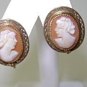 VINTAGE Screw Back Shell Cameo Earrings  1/20 12K Gold Filled