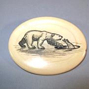 VINTAGE  Walrus Tusk Cross-Section  Scrimshaw Brooch