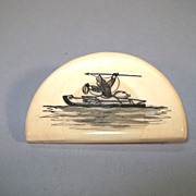 VINTAGE Scrimshaw Walrus Tusk Drawing Eskimo Spear Fishing