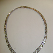 VINTAGE Sterling Woven V Necklace Made in Italy Classic