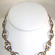 VINTAGE  Symmetalic WRE Interlocking Circles Necklace with 14K Gold Overlay Beautiful