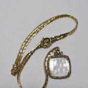 VINTAGE Goldette Slide Necklace with Glass Intaglio