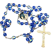 VINTAGE Sterling and Blue Crystal Rosary