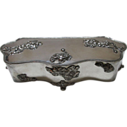 VINTAGE Quadruple Plate Silver Large Jewelry Box  13 X5 Inches