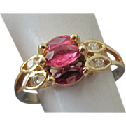 VINTAGE  65CT Natural Ruby 4 Diamond  14K Yellow Gold Ring