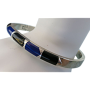 VINTAGE Mexican Sterling Locking Bracelet Lapis and Onyx