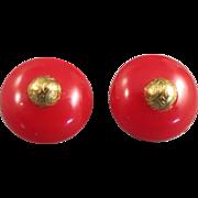 VINTAGE  Candy Apple Red Bakelite Pierced Earrings