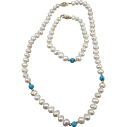 VINTAGE  Freshwater Knotted  Pearls and Turquoise beaded  Necklace and Bracelet