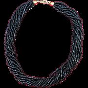 VINTAGE Trifari Black Beaded Twisted Choker   Short