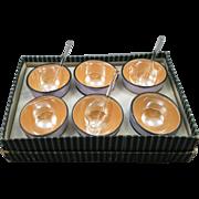 VINTAGE  5 Japanese Blue-Peach Luster Salts in Original Box  With 3 Glass Salt Spoons