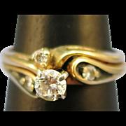 VINTAGE 14K Yellow Gold  60's Wedding Set .25 Diamond  TW Nice  Size 6