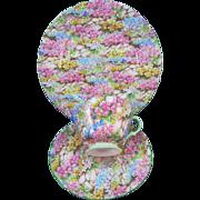 VINTAGE Shelley Rock Garden Chintz Bone China  Three Piece Dessert and Tea Set