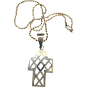 VINTAGE Sterling Mexican Silver Open Cross  Marked Mexico and 925