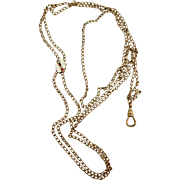 VINTAGE  Ladies Gold-filled Long Watch Chain   44 Inches and Slide with Pearls Seeds and ...