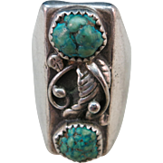 VINTAGE Old Pawn Sterling Ring with two Turquoise sets