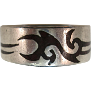 VINTAGE Hopi-like Sterling ring  Silver Overlay