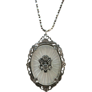 VINTAGE World War II Sweetheart Jewelry Sterling Army Crest Necklace