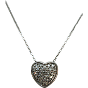 VINTAGE 14k  Diamond Heart and Chain  Lovely Gift