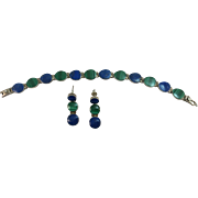 VINTAGE Mexican Sterling Silver Bracelet Malachite and Lapis and Earrings