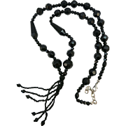 VINTAGE Black Glass Necklace  26 Inches long and 3 1/2 fringe drop