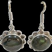 VINTAGE Sterling Fish-hook Labradorite Earring Beautiful