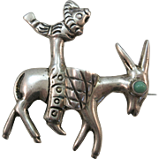 VINTAGE Mexican Silver Donkey Brooch with Turquoise Eye