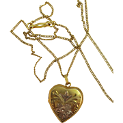 VINTAGE Gold-Filled Pretty Locket  18 Inch Chain