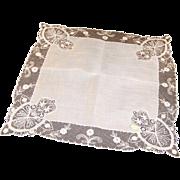 Vintage Shear White Austrian Lace Bridal Hankie