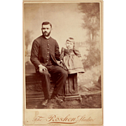 1892 Victorian Cabinet Card Photograph Man & Daughter