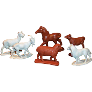 Six: Vintage Auburn Rubber Farm Animals