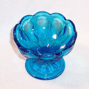 SOLD Vintage Azure Blue Scalloped Glass Open Candy