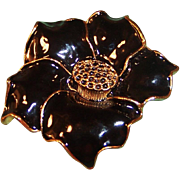 """SALE 2"""" Black Glossy Enamel Flower Pin"""