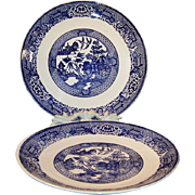"""Two  9 7/8"""" Vintage Blue Willow Dinner Plates"""