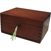 SOLD Vintage Wood Dovetailed Locking Keepsake Box & Key