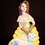 SALE Chalkware Figurine: Victorian Lady & Dog