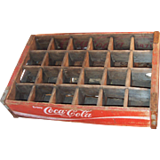 Vintage Wooden Weathered Red Coca-Cola Coke Bottle Crate Carrier