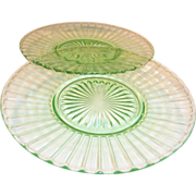(2) Hazel Atlas Ribbon Luncheon Plates